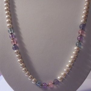 "Vintage Pearl Pink Blue Purple Bead Necklace 24"" L"